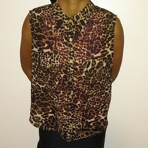 Tops - black leopard button up